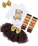 Baby Girl First Tanksgiving Outfit My 1st Tanksgiving Romper + Leg Warmers + Headband+Tutu Dress Clothing Set 0-3 Months Brown