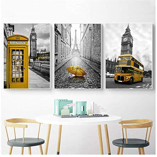 Zhaoyangeng Scandinavische affiches en prints gele stand bus zwart wit muurkunst Londen paar muurschilderingen voor woonkamer decoratie - 50X70Cmx3 niet ingelijst