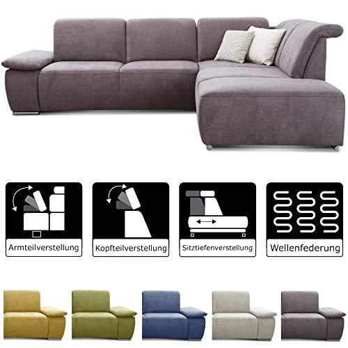 CAVADORE Ecksofa Tabagos / Couch mit Ottomane rechts / Modernes Sofa mit Sitztiefenverstellung / Inkl. Kopf- und Armteilverstellung/ 283 x 85 x 248 / Grau
