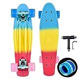 Kaigelu888 Skateboard 22'x6' Mini Retro Cruiser Skateboard,PU Flash Cojinete ABEC-7 Monopatín Skateboards para Adultos y niños