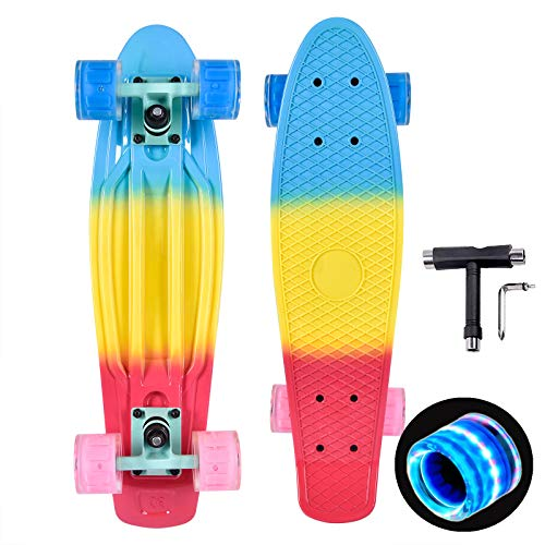 Kaigelu888 Skateboard 22'x6' Mini Retro Cruiser Skateboard,PU Flash Cojinete ABEC-7 Monopatín Skateboards para Adultos y niños