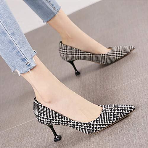 HRCxue zapatos de la Corte Moda Señaló zapatos de tacón de Aguja de la Personalidad Femenina Retro, 35, Rejilla Negra