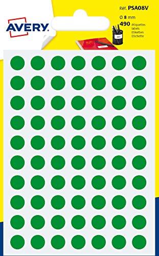 Avery España PSA08V. Bolsa de 490 etiquetas adhesivas redondas color verde, 8 mm