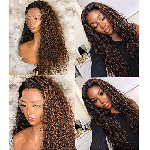 Brazilian Water Wave Virgin Hair Wigs Mix Brown Blonde Wigs 9A Water Curly Human Hair Wet Wavy Hair Wig Water Deep Wave Front Lace Wigs with Baby Hair 1B/33 Human Hair Ombre Lace Frontal Wig Full End