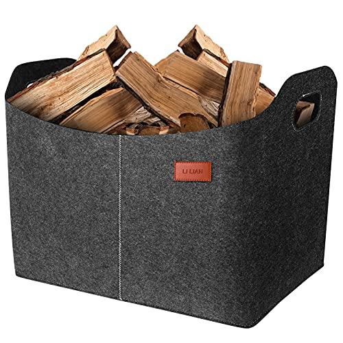Filzkorb für Kaminholz Kaminholzkorb Kaminholztasche für Feuer, Kamin- und Brennholz, Allzweckkorb aus Filz, Filztaschen mit verstärkten Griffen für Kaminholz