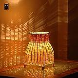 Lámpara Escritorio Pequeño Mini Craft Bamboo Wicker Rattan Jarrón Sombra Lámpara De Mesa Accesorio Rústico Vintage Iluminación Nocturna Para Dormitorio Mesita De Noche