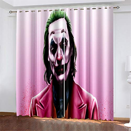 FACWAWF Household Polyester Fabric Curtains 3D Clown Living Room Bedroom Balcony Study Blackout Curtains 132x160cm(2pcs)