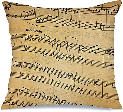 Funda de Cojine Throw CojínNotas musicales de agudos Vintage en filas de duelas Sinfonía amarilla Canción abstracta Diseño antiguo Texturas Cubierta Fundas para almohada 45X45CM