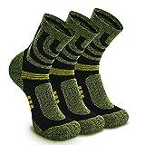 3 Paar Wandersocken Trekkingsocken Sportsocken für Herren Damen Münner Atmungsaktiv Blasenschutz Funktionssocken Laufsocken (EU 38-42, Grün - 3 Paare)
