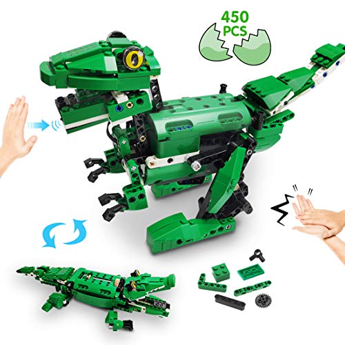 VERTOY Dinosaur Building Blocks - STEM Robot Building Kit for Kids 8-12 14 Year Old, Walking Dinosaur and Moving Crocodile Toy, Gesture and Sound Control, Best Gift for Boys Age 8+, 450 pcs
