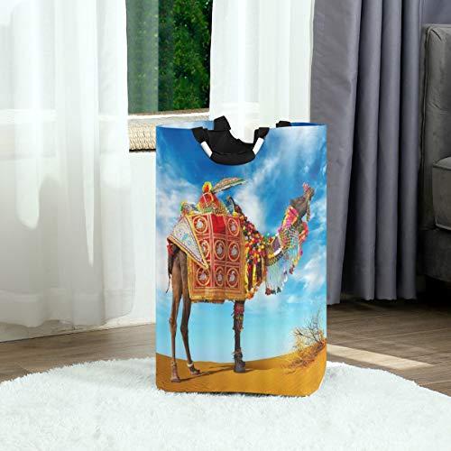 ZOANEN Wäschesack,Kamel lustiges Tier-Lama mit böhmischer Kleidung Kopfbedeckung Dekoration Regenschirm heiße Wüste,Großer faltbarer Wäschekorb,zusammenklappbarer Wäschekorb
