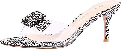 Encre Chaussures Chaussures Pantoufles à Talons Stiletto Mode Porter des Sandales Femmes Strass Sexy Sauvage avec Un Mot Glisser Femmes Pompes (Couleur   noir, Taille   39)  prix bas discount