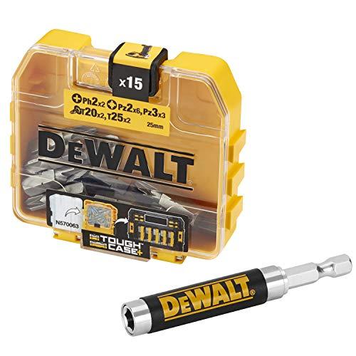 DeWalt DT71511-QZ Coffret d'Accessoires TOUGHCASE - Embouts de Vissage - PH2 x2, PZ2 x6, PZ3 x3, T20 x2, T25 x2 - Guide Magnétique - Pour Perceuse-Visseuse