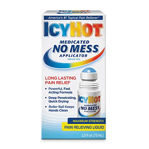 Icy Hot Medicated Pain Relief Liquid with No Mess Applicator, Maximum Strength, Original Version, 2.5 Fl Oz(Package May Vary)