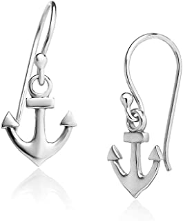 Big Apple Hoops - High Polish Sterling Silver Nautical Boat Anchor Dangle Drop Small Size Earrings Made from Real Solid 925 Sterling Silver in 3 Color Rose, Silver, Gold Gifts for Men, Teens, Women