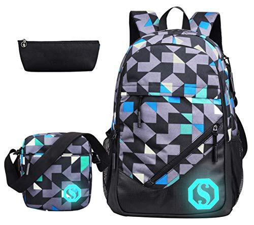 Mochila escolar para adolescentes y niñas, lona, bolsas escolares, set de 15 pulgadas, mochila para portátil con marca florescente 3 juegos/2 juegos, Colorh 3 Sets, Talla única,