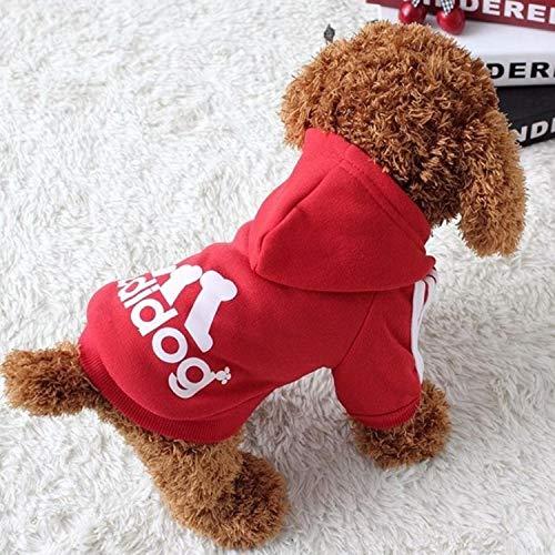 Vêtements pour chiens adidog 2020 nouveaux vêtements d'hiver pour animaux de compagnie petits et moyens sweats à capuche pour chiens vêtements pour chiots sweat pour chiens Chihuahua-rouge, L 2-3 kg