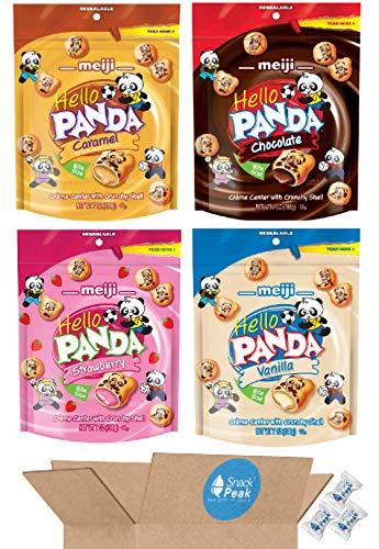 Meiji Hello Panda Variety Snack Peak Gift Box (4 flavors – 7 oz each): Chocolate, Caramel, Vanilla, and Strawberry