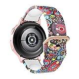 MoKo Cinturino Compatibile con Samsung Galaxy Watch 4/4 Classic/Galaxy Watch 3 41mm/Galaxy Watch Active 1/2/GTS/Bip/Vivoactive 3, 20mm Bracciale di Ricambio in Silicone con Stampa, Meduse Colorate