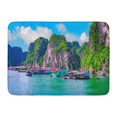 Fußmatten Badeteppiche Outdoor / Indoor Fußmatte Schwimmende Fischerdorf Rock Island in Halong Bay Vietnam Südostasien UNESCO-Weltkulturerbe Junk Badezimmer Dekor Teppich Badematte