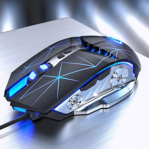 Gaming Mouse USB Wired RGB Backlit Silent Click Gamer Mouse with 4 Adjustable DPI Up to 3200, Comfortable Grip Ergonomic Optical Gaming Mice for Laptop PC Gamer Computer Desktop(Star Black)