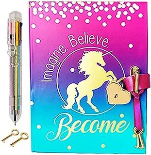 دفتر خاطرات با قفل برای دختران - مجله تکشاخ با قفل و کلیدهای به روزرسانی ، صفحات نوت بوک برای نوشتن مخفی ، صفحات خالی برای نقاشی ، دستبند ، قلم چند رنگ و نشانک
