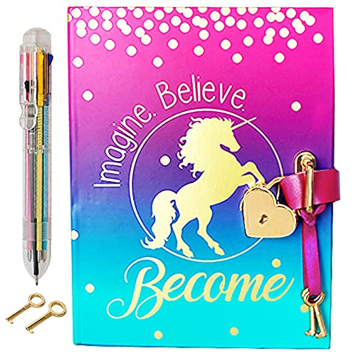 Diary with Lock for Girls - Unicorn Journal with Upgraded Lock and Keys, Notebook Pages for Secret Writing , Blank Pages for Drawing, Multicolor Pen and Bookmark Included
