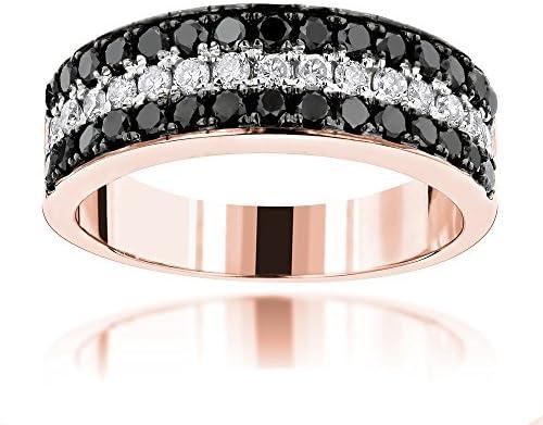 Luxurman Unique 10K 3 Row White Black 1 3 Ctw Natural Diamond Wedding Band Rose Gold Size 11 product image