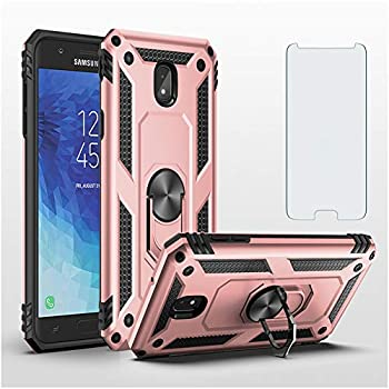 Phone Case for Samsung Galaxy J3 2018 Cases with Galaxyj3 Tempered Glass Screen Protector Ring Holder Stand Galaxyj3orbit Glaxay J3star J3achieve J3V Sol3 Shockproof Back Cover Pink Rose Gold