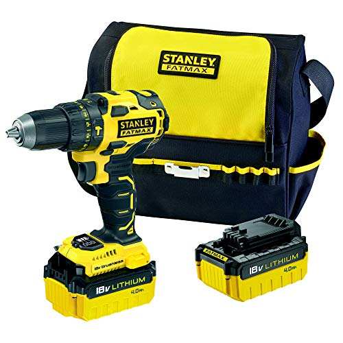 STANLEY FATMAX FMC627M2S-QW - Taladro percutor Brushless 18V, 30.600 ipm, con 2 baterías de litio 4Ah y bolsa de transporte