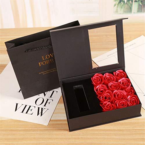 Jamicy  12 piezas DIY Día de la Madre Día de Acción de Gracias Jabón Rosa Caja de Regalo Joyero de Pintalabios Caja de Regalo Regalo de San Valentín (Rojo)