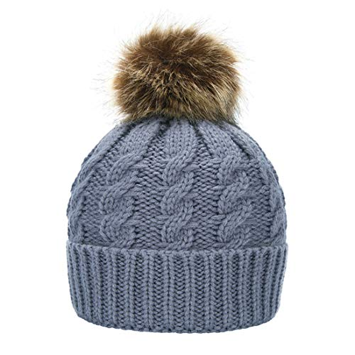 Janrely Womens Winter Hand Knit Faux Fur Pompoms Beanie Hat (Grey)