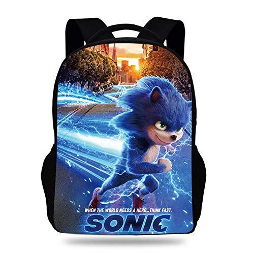 Laptop Rucksack Sonic The Hedgehog 3D Bookbag for Mens Womens, Durable Travel Laptops Backpack School College Bag with USB Charging Port Daypack,1