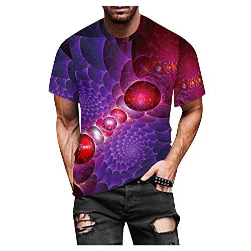 Camisetas para hombre, cuello redondo, moda informal, impresión 3D, suave, ropa callejera, divertida, moderna y de gran tamaño. morado XL