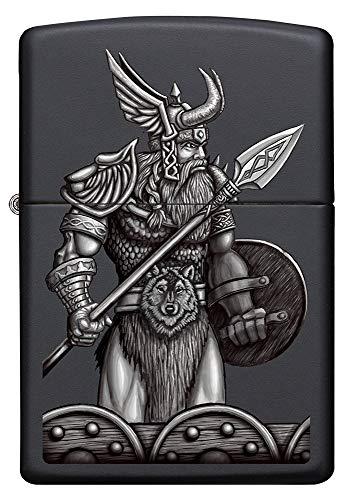 Zippo Odin bewaffnet, Satin Chrome – Benzin Sturm-Feuerzeug, nachfüllbar, in hoch-wertiger Geschenkbox, Black Matte, Normal, 60005587