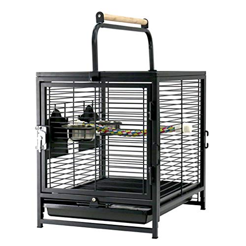 Flight Bird Cage Wrought Iron Select Bird Cage for Aviaries Canaries Budgies Finches Lovebird Parakeet Portable Bird Cage Black