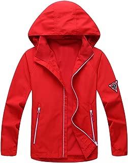 Mallimoda Boy's Waterproof Hooded Jacket Zipper Up Rain Coat