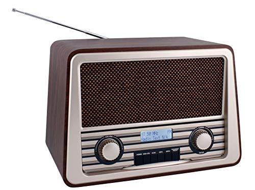 Hannlomax HX-504R - Radio FM (madera, estilo retro, DAB/PLL, pantalla LCD)