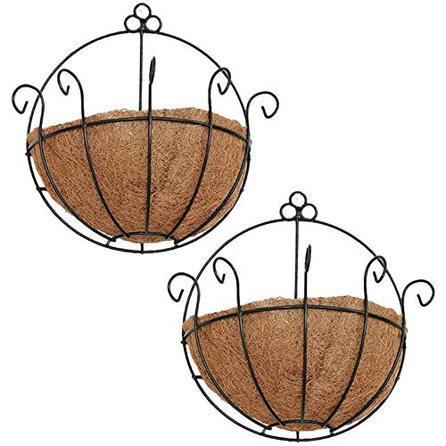 Orgrimmar 2 Pcs Iron Wall Hanging Planters Basket 9.8 Inches Half Round Plant Flower Wall Holder with Coco Coir Liner Plant Hanger Decoration for Garden Porch Balcony Indoor Outdoor
