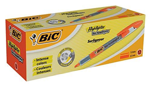 BIC Highlighter Technolight Marcadores punta biselada Ajustable - Naranja, Caja de 12 unidades