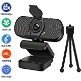 Computer Webcam with Microphone Compatible with Video Calling Conferencing Zoom Meeting YouTube MSN OBS Xbox Cameras, Plug and Play Widescreen Streaming USB Web Camera for Desktop PC Laptop Mac