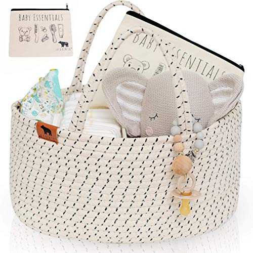 Lu & Ken 3 in 1 Large Diaper Caddy Organizer - Designer Rope Portable Baby Changing Table Organizer - Nursery Storage Basket - Hanging Storage Caddy - Includes Stylish Canvas Bag.