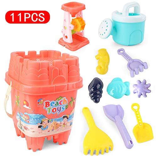 Kids Sand Box Water Crane Zandbak Toy, 11 stuks Speelgoed van het zand Set met emmer, schoppen, harken, Outdoor Beach Sand Toys for Boys