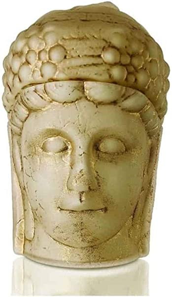 EWorldPartner Nemrut Fortuna Statues Handmade Cream Opal Glass Tumbled By Using Gold Paints Limited Edition