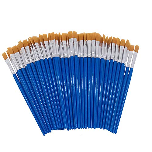 SUNKISTY Childrens Art Paintbrushes, Little Painting Brushes with Plastic Handle for Kids Blue (Blue 100PCS)
