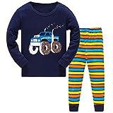 Pijama para Niños-Pijama Niño Invierno-Pijamas de Tractor para Niños-Manga Larga Niño Ropa de algodón Traje Dos Set 2-8 Años