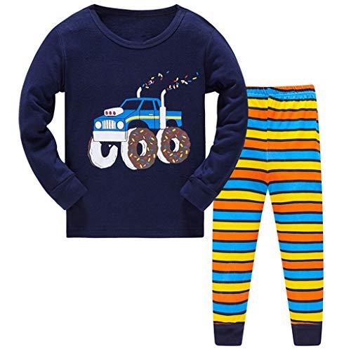 HIKIDS Jungen Schlafanzug Traktor Baumwolle Pyjamas Kinder Zweiteiliger Nachtwäsche Langarm Shirt und Pyjamahose 4-5 Jahre