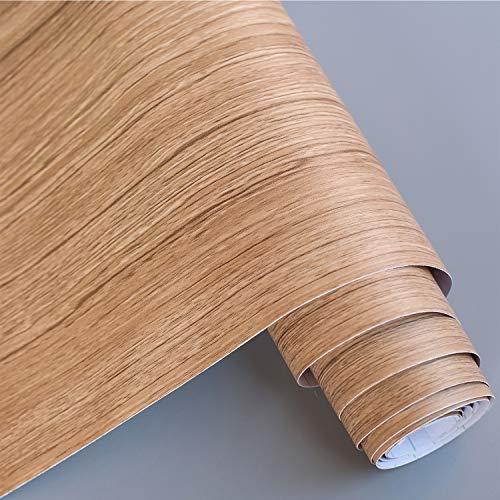 Profesticker Sticker Muebles Papier Auto-Adhésif Autocollant PVC Armoire Credence Cuisine Porte Mural Carreau Ciment Salle de Bain Imperméable Résistant Chaleur (20CM X 500CM) (Bois Clair Texturé)