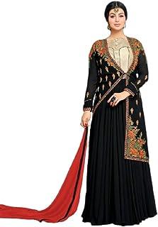 Monika Silk Mill Women's Georgette Embroidered Semi Stitched Anarkali Salwar Suit