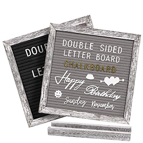 Gelibo Double Sided Letter Board with 750 Precut White & Gold Letters,Months & Days & Extra Cursive Words, Wall & Tabletop Display, Letter Bags, Scissors (White Rustic 10x10)